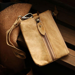 Cool Light Brown Leather Mens Card billfold Wallet Coin Purse Wristlet Car Key Wallet For Men