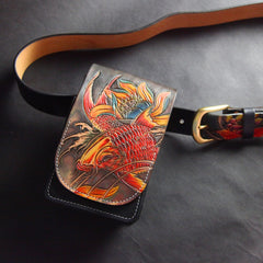 Handmade Tooled Leather Carp Mens Belt Pouch Waist Bag Belt Phone Bag Mobile Bag For Men