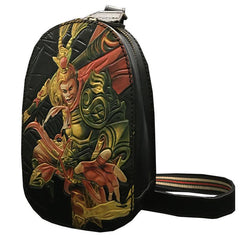 Black Handmade Tooled Leather Wolf Sling Bag Chest Bag One Shoulder Backpack For Men
