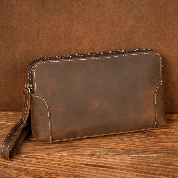 Cool Brown Mens long Wallet Wristlet Bag Clutch Wallet Envelope Wallet for Men
