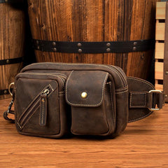 Cool Brown Leather Fanny Pack Mens Waist Bags Hip Pack Belt Bags Bumbags for Men