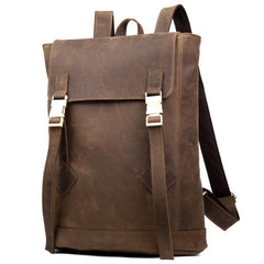Casual Dark Brown Leather Mens 14 inches School Backpacks Satchel Backpack Computer Backpack for Men