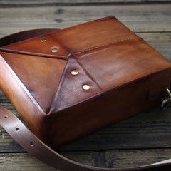 Handmade Vintage Brown Leather Mens Box Bag Shoulder Bag Messenger Bag for Men
