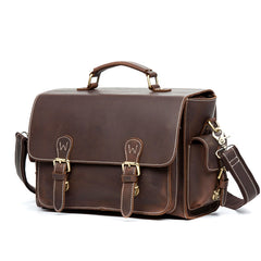 Brown Leather 13 inches SLR Camera Side Bag Messenger Bags HandBag for Men