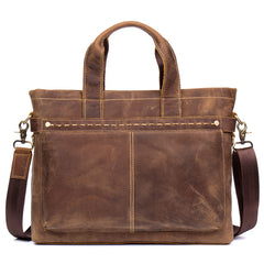 Casual Brown Leather 15 inches Laptop Briefcase Work Side Bag Work Handbag for Men