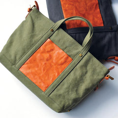 Green Canvas Leather Mens Womens Tote Shoulder Bags Messenger Bag Gray Tote Handbag For Men and Women