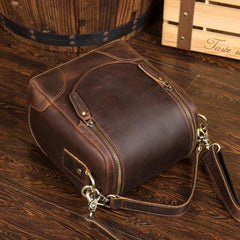 Dark Brown Leather Mens Small SLR Camera Bag Shoulder Bag Messenger Bag For Men
