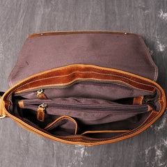 Brown Leather Mens 12 inches Large Laptop Side Bag Courier Bag Messenger Bag Postman Bag For Men