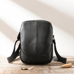 Black Leather Mens Small Vertical Messenger Bag Postman Bag Small Courier Bag for Men