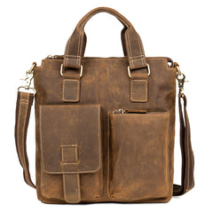 Vintage Brown Leather Mens 13 inches Vertical Briefcase Laptop Bags Business Bags Work Messenger Bag for Men
