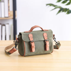 Canvas Leather Mens Womens Green Portable Side Bag Khaki Messenger Bag Small Courier Bag For Men