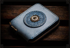 Handmade Leather Tibetan Mens Short Wallet Cool Chain Wallet Biker Wallet for Men
