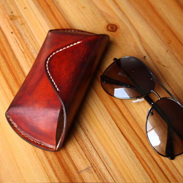 Handmade Mens Cool Leather Glasses Case Glasses Box Glasses Holder Eyeglass Case