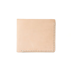 Handmade Beige Leather Mens billfold Wallet Bifold Front Pocket Small Wallet For Men