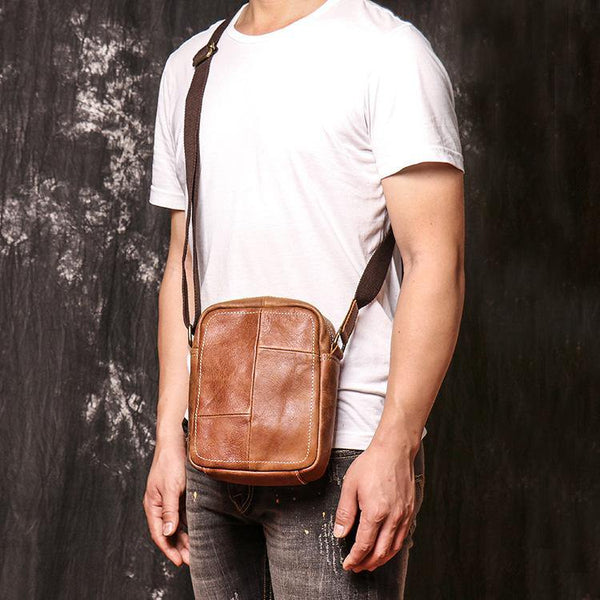 Brown Leather Vertical Messenger Bag Men's Small Side Bag Mini Phone Bag Courier Bag For Men