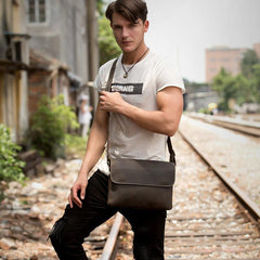 Black Leather 10 inches Mens Casual Messenger Bag Shoulder Bags for Men