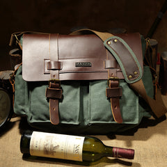 Canvas Leather Mens Vintage Khaki Travel Side Bag Green Messenger Bag Brown Courier Bag for Men