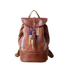 Brown Emroidered Canvas Leather Mens Women Large 14'' College Backpack Travel Backpack for Men
