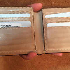 Handmade Leather Mens Cool billfold Leather Wallet Men Slim Wallet Bifold for Men