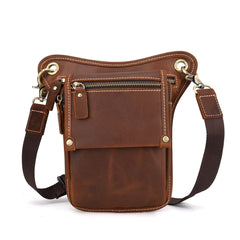 Cool Leather Men's Belt Pouch Waist Bag Small Side Bag Drop Leg Bag For Men