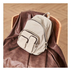 Cool Red Canvas Leather Mens Womens Backpack Canvas Brown Travel Canvas Backpack School Backpack for Women