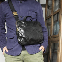 DISTRESSED BROWN LEATHER MEN'S Side Bag Black MESSENGER BAG Small Postman bag FOR MEN