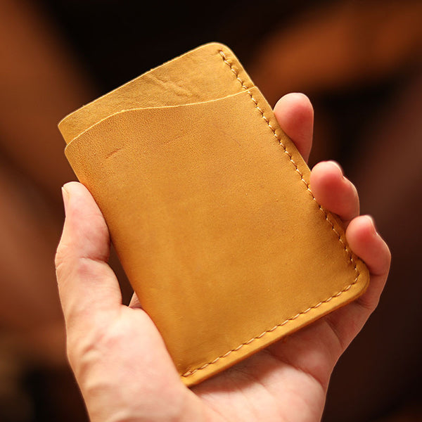 Handmade Dark Brown Leather Mens Card Holder Tan Card Holder Small Card Case For Men