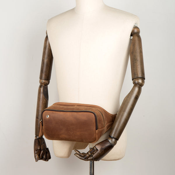 Vintage Brown Mens Leather Fanny Pack Waist Bag Leather Hip Pack Belt Bags Bumbag for Men