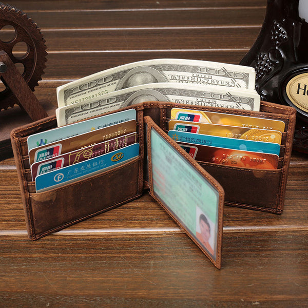 Cool Vintage Brown Mens Leather Small Wallet Bifold billfold Wallets for Men