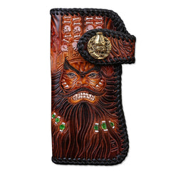 Handmade Mens Cool Tooled Zhong Kui demon Leather Chain Wallet Biker Trucker Wallet with Chain