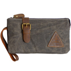 Cool Canvas Leather Mens Clutch Wallet Zipper Wristlet Bag Purse for Men