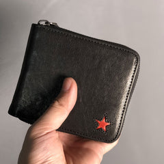 Genuine Leather Mens Cool Short Leather Wallet Men Small Wallets Bifold for Men