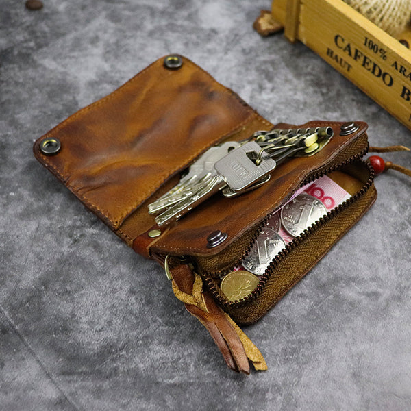 Vintage Leather Men's billfold Small Wallet Brown Key Wallet Card Wallet For Men