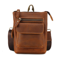 Cool Dark Brown Leather Mens Belt Pouch Mini Shoulder Bags Belt Bags For Men