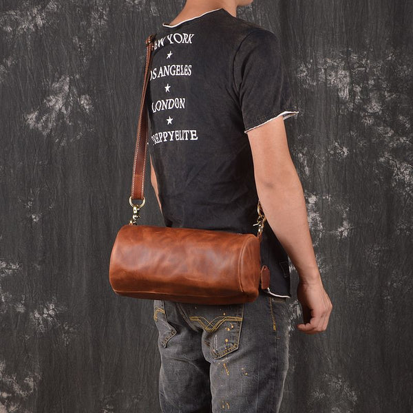 Light Brown Leather Mens Barrel Shoulder Bag Side Bag Messenger Bag For Men
