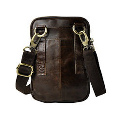 Fashion Leather Men's Belt Pouch Cell Phone Holsters Brown Mini Side Bag For Men
