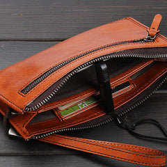 Handmade Leather Mens Cool Long Leather Wallet Zipper Clutch Wristlet Wallet for Men