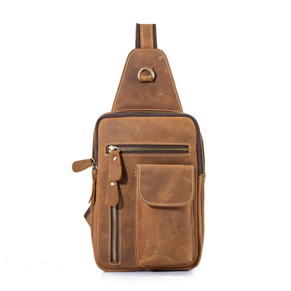 Brown Leather One Shoulder Backpack Chest Bag Sling Bag Sling  Crossbody Bag For Men