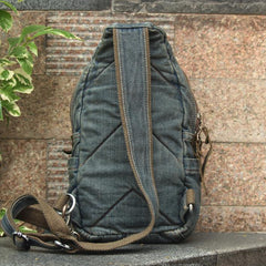 Denim Vintage Blue Mens Sling Bag Chest Bags Jean One Shoulder Backpack For Men