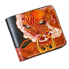Handmade Leather Chinese Lion Tooled Mens billfold Wallet Cool Leather Wallet Slim Wallet for Men