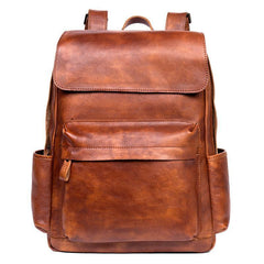 Brown Fashion Mens Leather Large 15inch Laptop Backpacks Black Travel Backpacks School Backpack for men