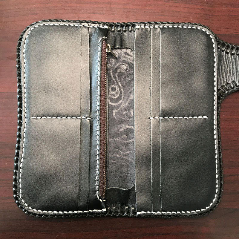 Handmade Leather Mens Cool Black Buddha Chain Wallet Biker Trucker Wallet with Chain