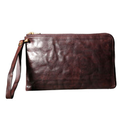 Handmade Genuine Leather Mens Clutch Cool Slim Wallet Zipper Clutch Wristlet Wallet for Men