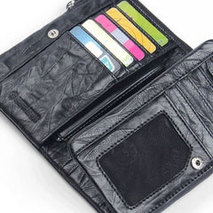 Handmade Leather Mens Cool Long Leather Wallet Zipper Wristlet Clutch Wallet