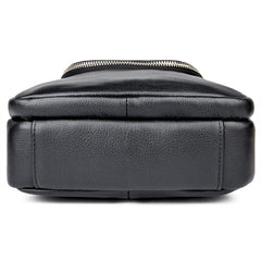 Black Leather 8 inches Small Side Bag Vertical Courier Bag Messenger Bag For Men