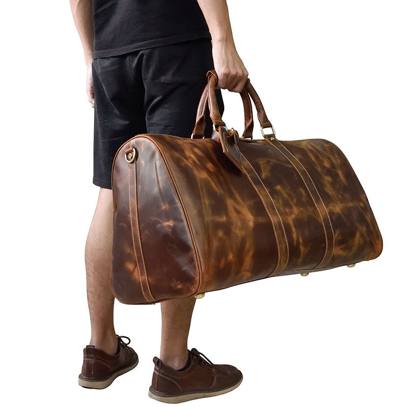 cc9e01bd8 Cool Vintage Brown Leather Mens Overnight Bags Travel Bags Weekender B –  iwalletsmen