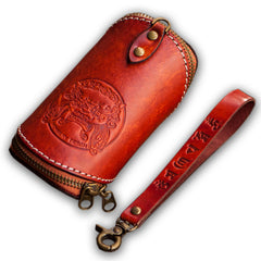 Handmade Leather Tooled Mens Cool Car Key Wallet Coin Wallet Pouch Car KeyChain for Men