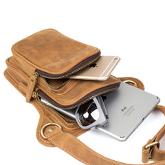 Brown Leather 8 inches Mens Small Messenger Bags Chest Bags Sling Bags for Men