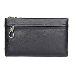 BLACK MENS LEATHER Yellow SLIM ZIPPER CLUTCH WRISTLET PURSE BAG CLUTCH BAG FOR MEN