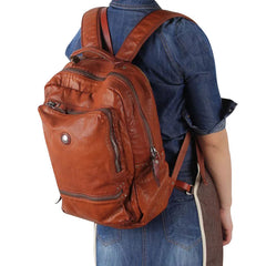 Handmade Leather Mens Cool Backpack Sling Bag Large Black Travel Bag Hiking Bag for men